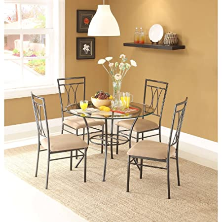 Dining Set Metal Chairs Kitchen Table Furniture Modern Wood 4 Breakfast 5 Piece Stylish Apartment Home Side, Table size 42 L x 42 W x 30 H, Chair size 18.5 L x 18.5 W x 39 H