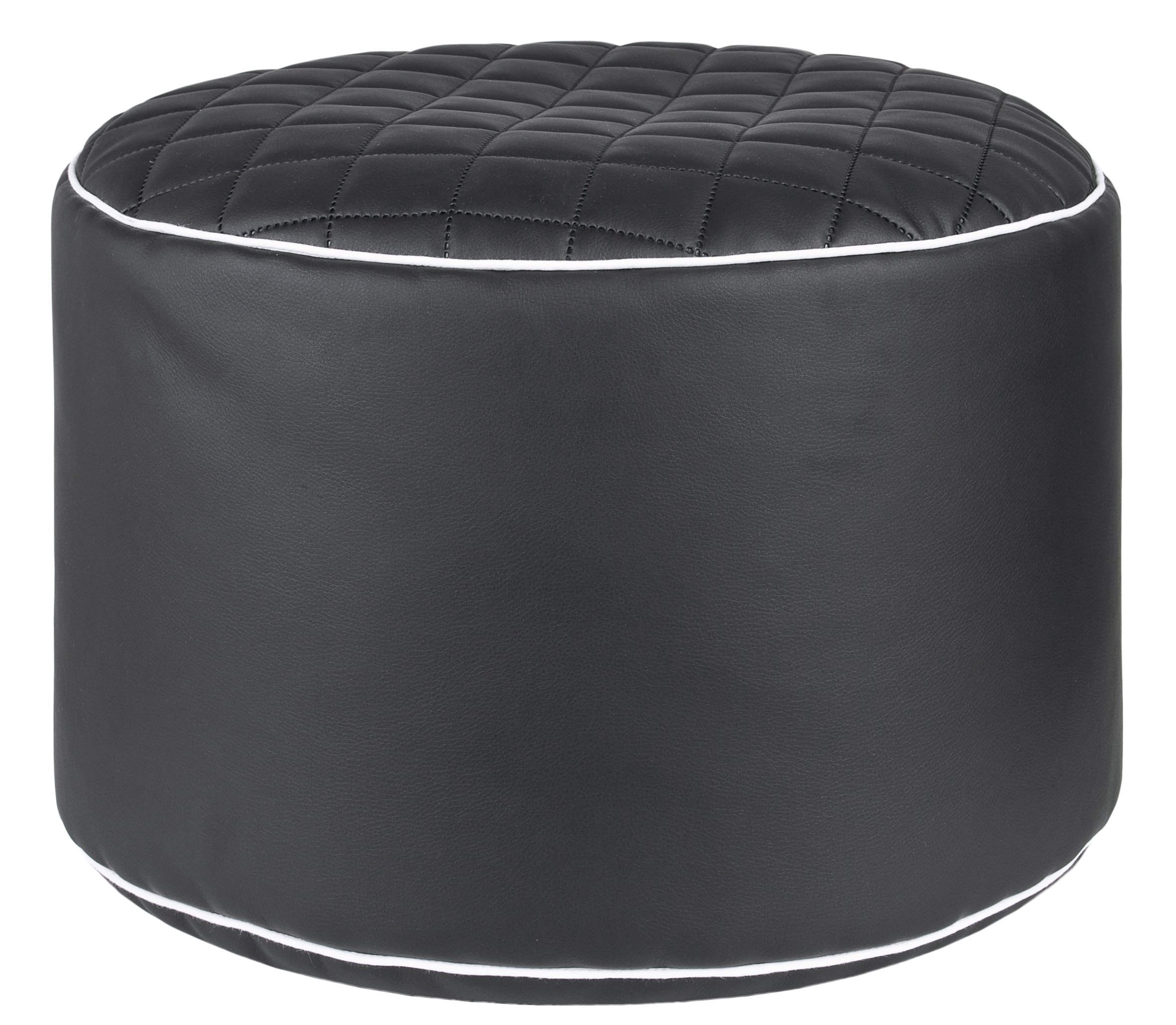 Gouchee Home Dotcom Modo Tap Collection Contemporary Faux Leather Fabric Upholstered Round Pouf/Ottoman, Black