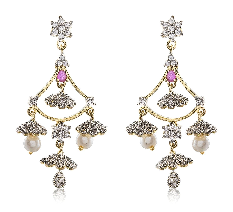Buy Parampara Silver & Gold Alloy Dangle & Drop Earrings for Women