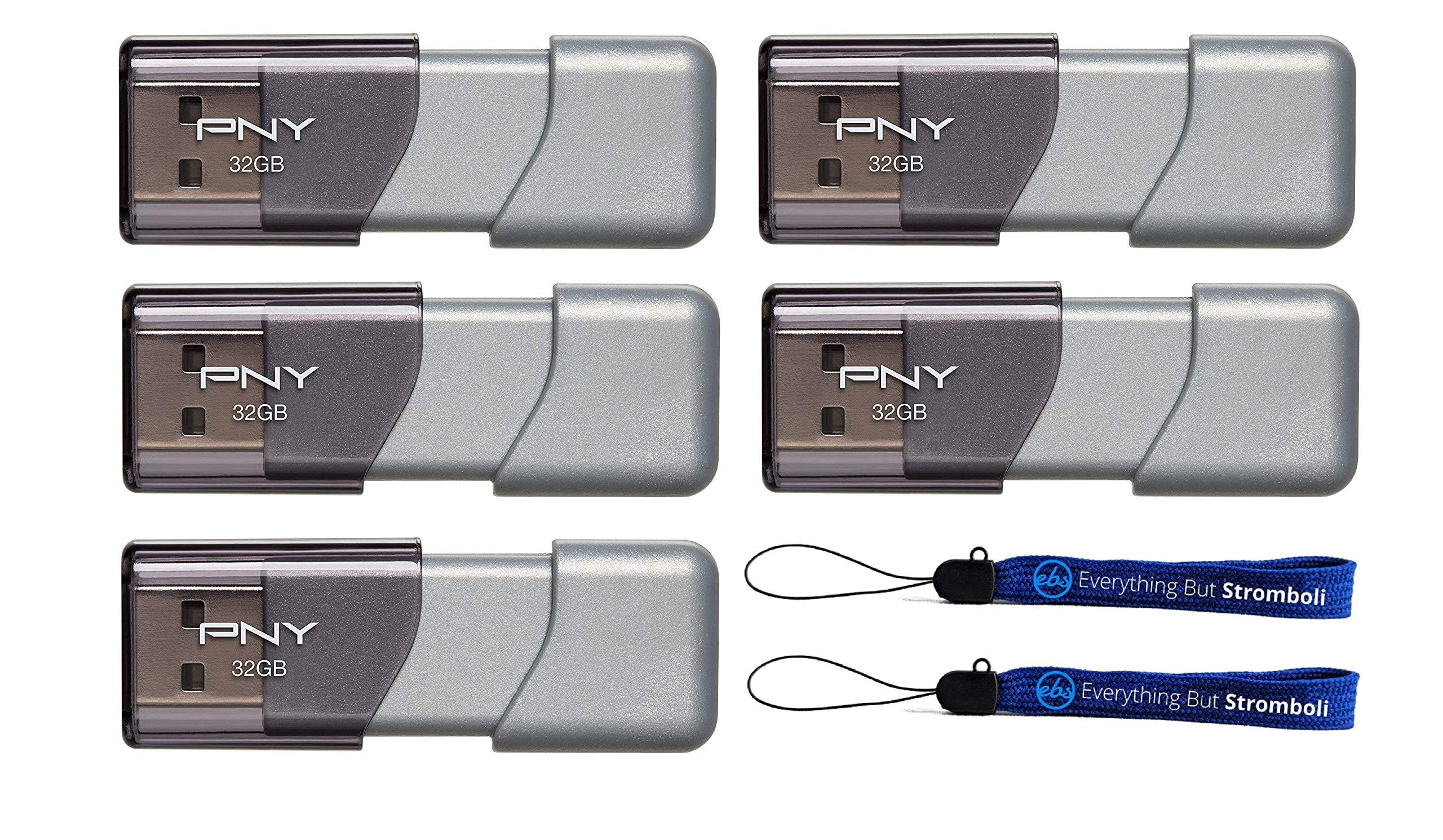 PNY 32GB USB 3.0 Flash Drive Elite Turbo Attache 3 (Five Pack Bundle) Model P-FD32GTBOP-GE Plus (2) Everything But Stromboli (TM) Lanyard