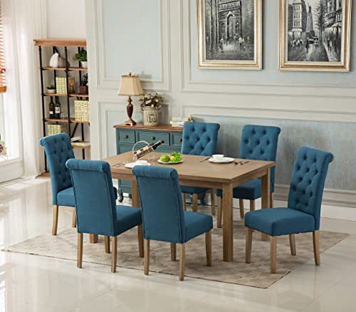 Roundhill Furniture Collection Monotanian Solid Wood Dining Table with 6 Button Tufted Chairs, Blue,