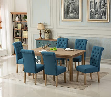 Wondrous Roundhill Furniture Collection Monotanian Solid Wood Dining Table With 6 Button Tufted Chairs Blue Alphanode Cool Chair Designs And Ideas Alphanodeonline