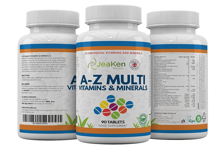 MULTIVITAMINAS Y MINERALES A-Z Por JeaKen - 90 tabletas de 32 vitaminas y minerales múltiples - Superar su salud Adecuado para vegetarianos - Fabricado en ...