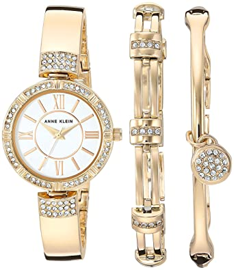 b5f6b70d12a Amazon.com  Anne Klein Women s AK 3294GBST Swarovski Crystal Accented  Gold-Tone Bangle Watch and Bracelet Set  Watches