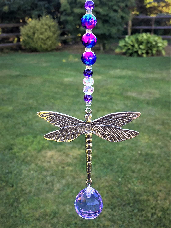 Dragonfly Crystal Bead Hanging Window Sun Catcher Home Decor Car Mirror Charm