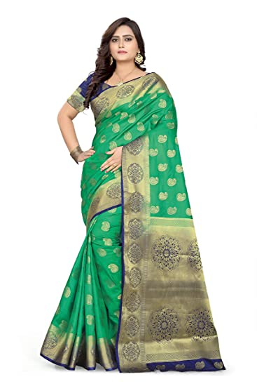fd825588a8 RIVA ENTERPRISE Women's Banarasi Silk Zari Woven Look Saree (Dark Green)
