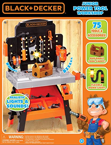 20109cf5e Amazon.com: Black+Decker Junior Power Workbench Workshop with Realistic  Action Lights & Sounds - 75 Tools & Accessories [Amazon Exclusive]: Toys &  Games