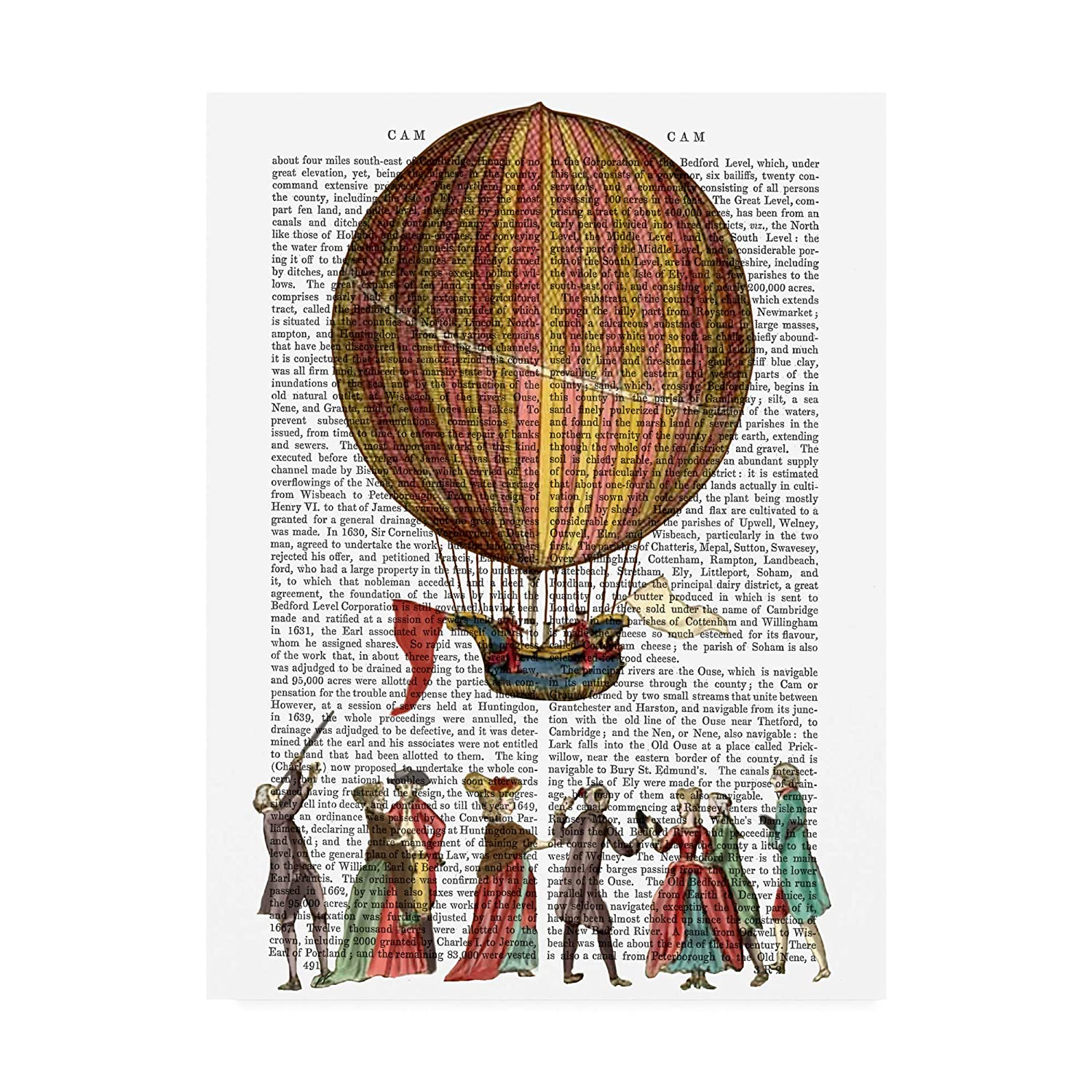 14x19 Trademark Fine Art Hot Air Balloon and People by Fab Funky, 14x19
