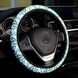 LABBYWAY Universal Steering Wheel Covers, with Cute Cactus Pattern Design,Universal Fit 15 Inch Stretchy Wheel Protector for Women Girls