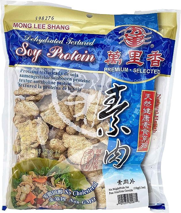 Mong Lee Shang Vegan Soja Proteína TVP (siced) 5.3 oz, sin OMG, sin sabor