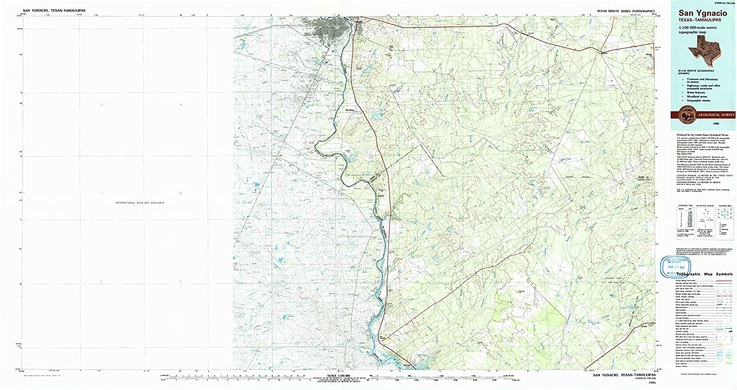 Amazon.com : YellowMaps San Ygnacio TX topo map, 1:100000 Scale, 30 X 60 Minute, Historical, 1985, Updated 1993, 24.1 x 45.4 in - Polypropylene : Sports & ...