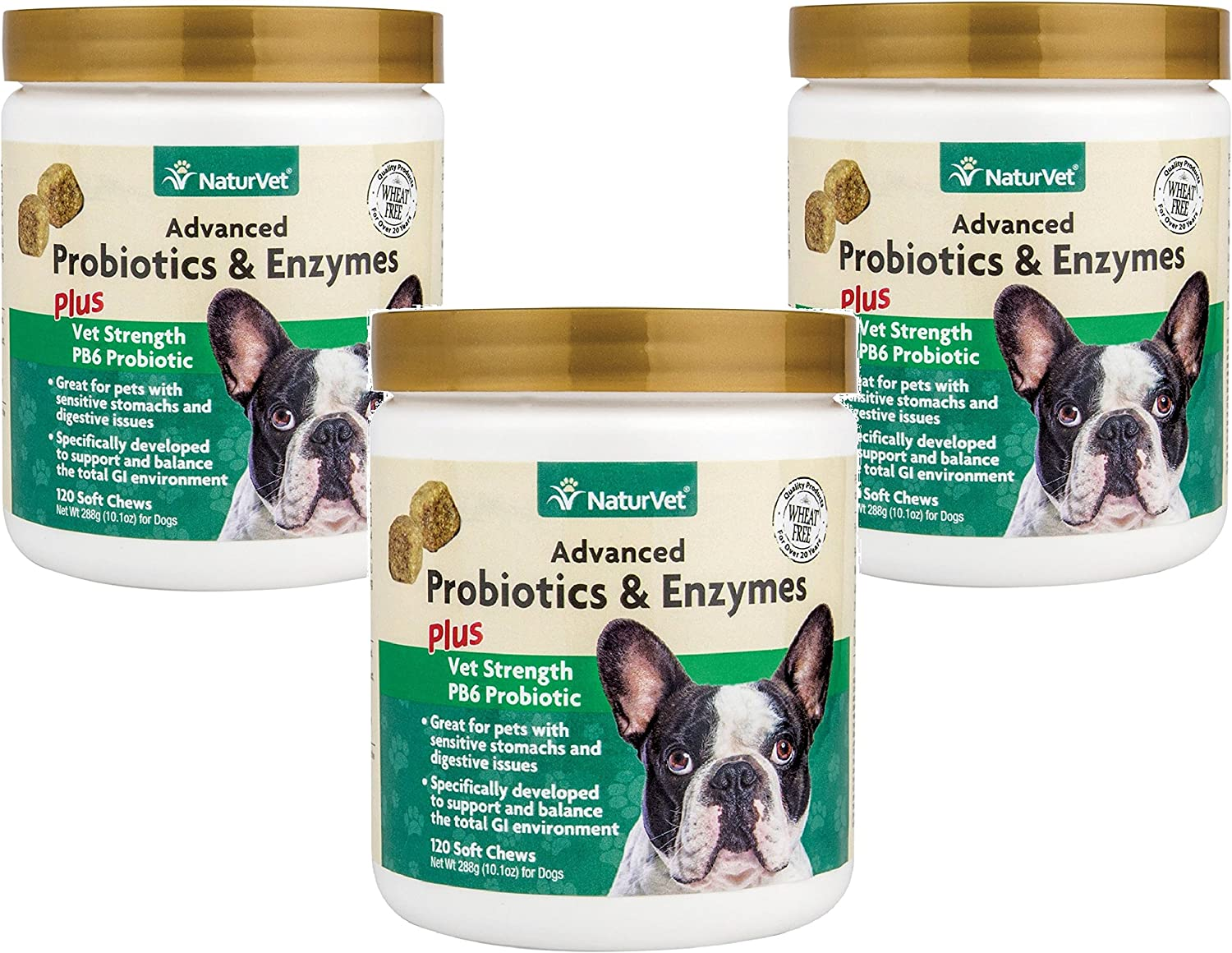 360-Count NaturVet Advanced Probiotics Enzymes Plus Vet Strength PB6 Probiotic Soft Chews for Dogs 3 Jars with 120 Chews Each