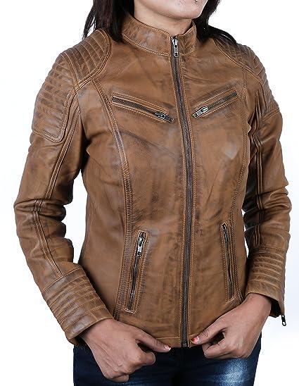Urban Leather Corto Biker - Chaqueta de piel, Mujer, marrón, large