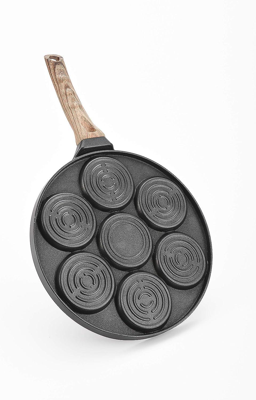 Mini-Pfannkuchen-Maker Pfannkuchenpfanne mit Smiley-Gesicht Grillpfanne antihaftbeschichtet mit 7 einzigartigen lustigen Klappgesichtern Cr/êpes-Pfannkuchen-Form