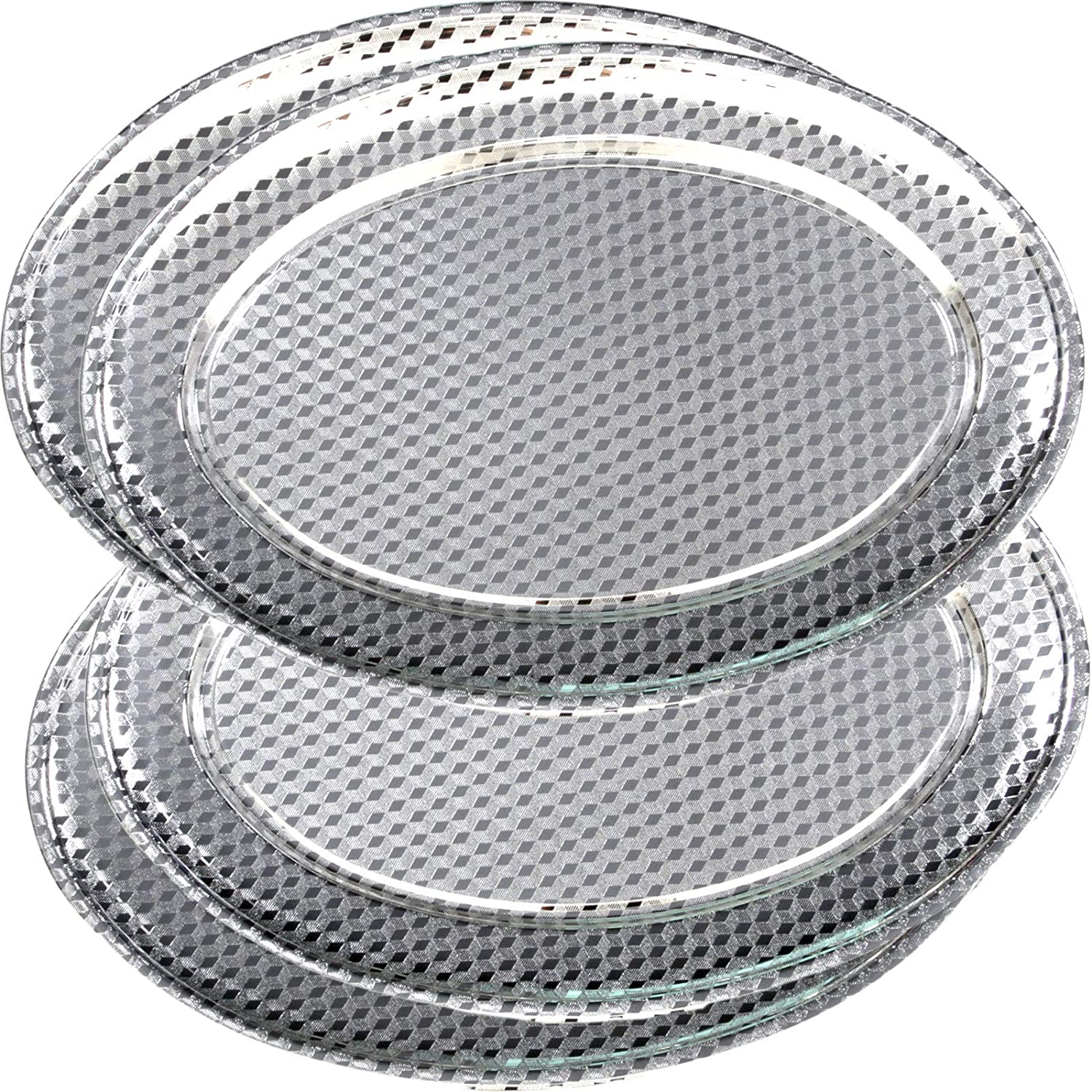"""Maro Megastore (Pack of 4) Oval Chrome Plated Serving Tray Edge Brick Engraved Decorative Wedding Birthday Dessert Cake Snack Wine Candle Platter Plate Party 3284 (4-Pack 19.7"""" x 13.4"""")"""