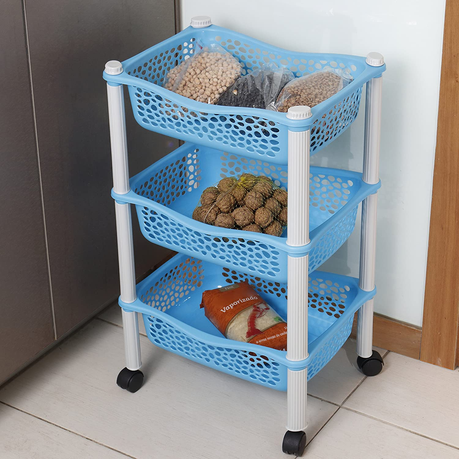 Kitchen storage trolley cart with storage baskets and wheels Fruit ...