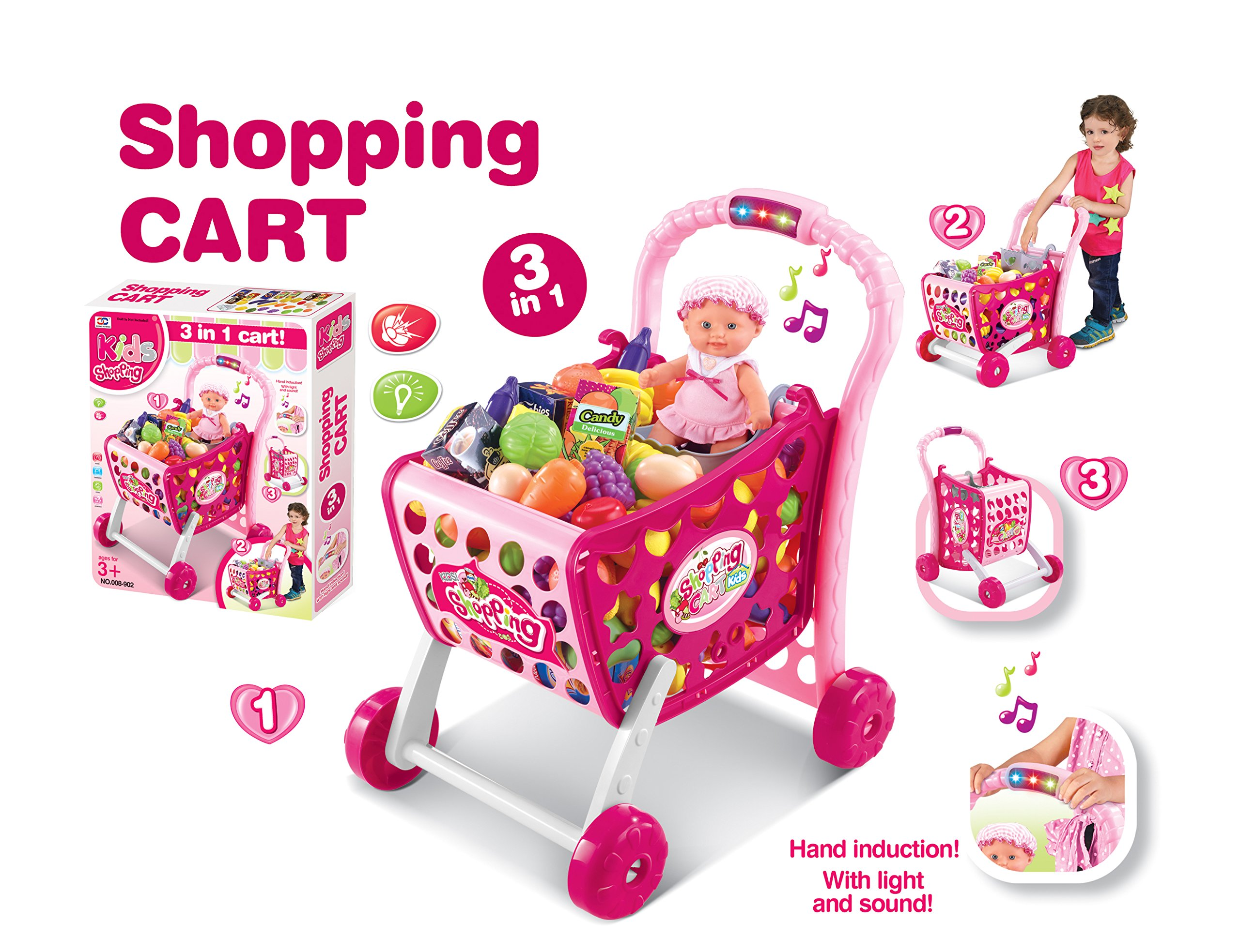 Paradise Treasures Pink Pretend Play Shopping Cart Toy for Girls/Boys with 3 in 1 Grocery Cart with Light and Sound (78) pc Grocery Set