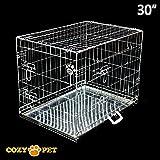 Cozy Pet Deluxe HundeKäfig, hochwertiges Metall-Tablett, 2 Türen, 2 Sicherheits-Verriegelungen auf jeder Tür, Hundekäfige, Welpenkäfig, Welpenkäfige, Hundekisten, Transportkäfige, 5 Größen, erhältlich in Schwarz, Silber, Rosa, Blau.