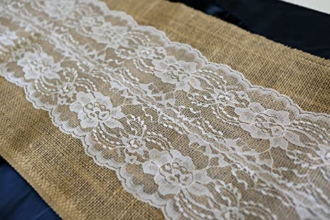 Amazon Com Burlap Lace Table Runner White 12x72 Inches Home Kitchen