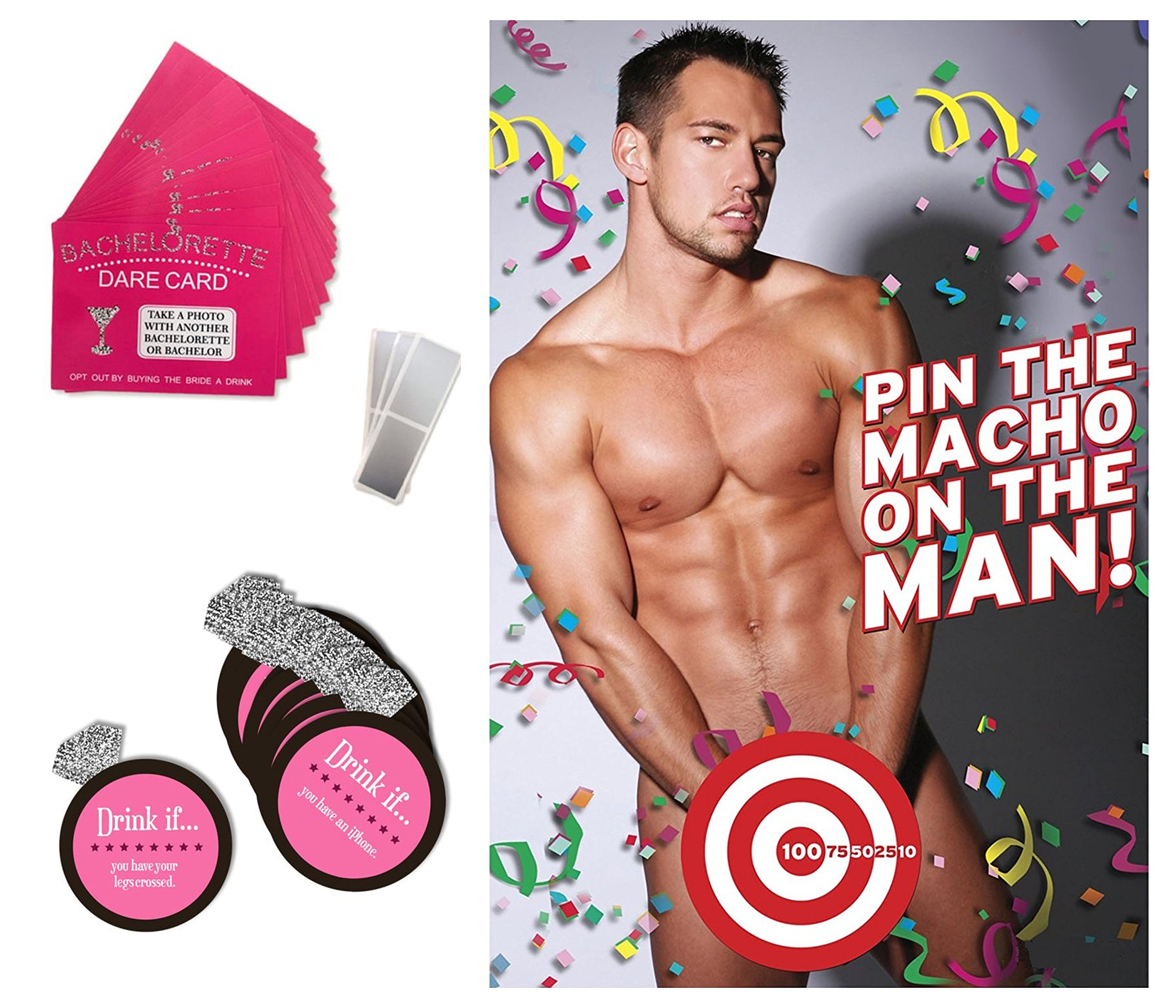 Bachelorette Party Games & Bridal Shower Supplies - 20 Dare Card Game, 30 Drink If Cards, Pin the Macho on the Man w/ 24 Machos, Bride Set Gifts, Naughty Lesbian Hen Party Decor Favors ~ By PRIMEasy