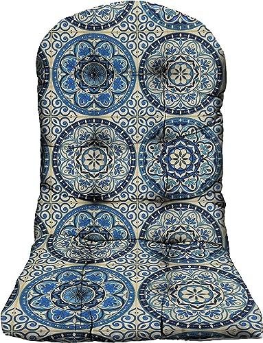 RSH Decor – Decorative Indoor Outdoor Tufted Adirondack Chair Seat Cushions 1, Wheel Indigo – Blue Ivory Large Sundial