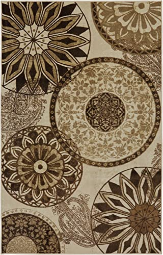 Mohawk Home New Wave Inspired India Neutral Medallion Printed Area Rug, 7 6×10 , Tan
