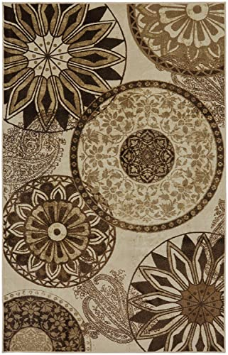 Mohawk Home New Wave Inspired India Neutral Medallion Printed Area Rug, 5 x8 , Tan