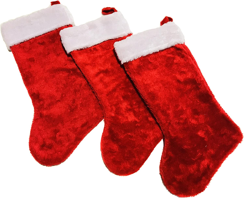 Christmas Stockings Red Ticking Famiy B