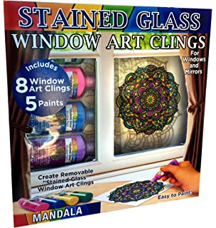 Amazon do it yourself stained glass window painting kit joy of coloring zorbitz stained glass window art cling kit diy 8 clings solutioingenieria Images