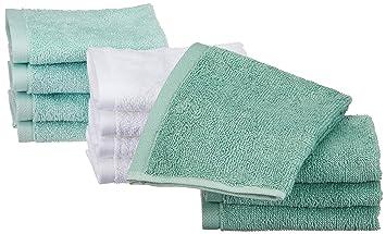AmazonBasics - Toallas de algodón, 12 unidades, Verde espuma de mar, Azul hielo, Blanco: Amazon.es: Hogar