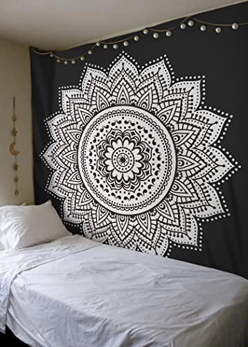 Madhu International Mandala Tapestry Wall Hanging Psychedelic Hippie Bohemian Tapestries Indian Bedding Wall Decor Black White, King 90x108Inches 230x275cms
