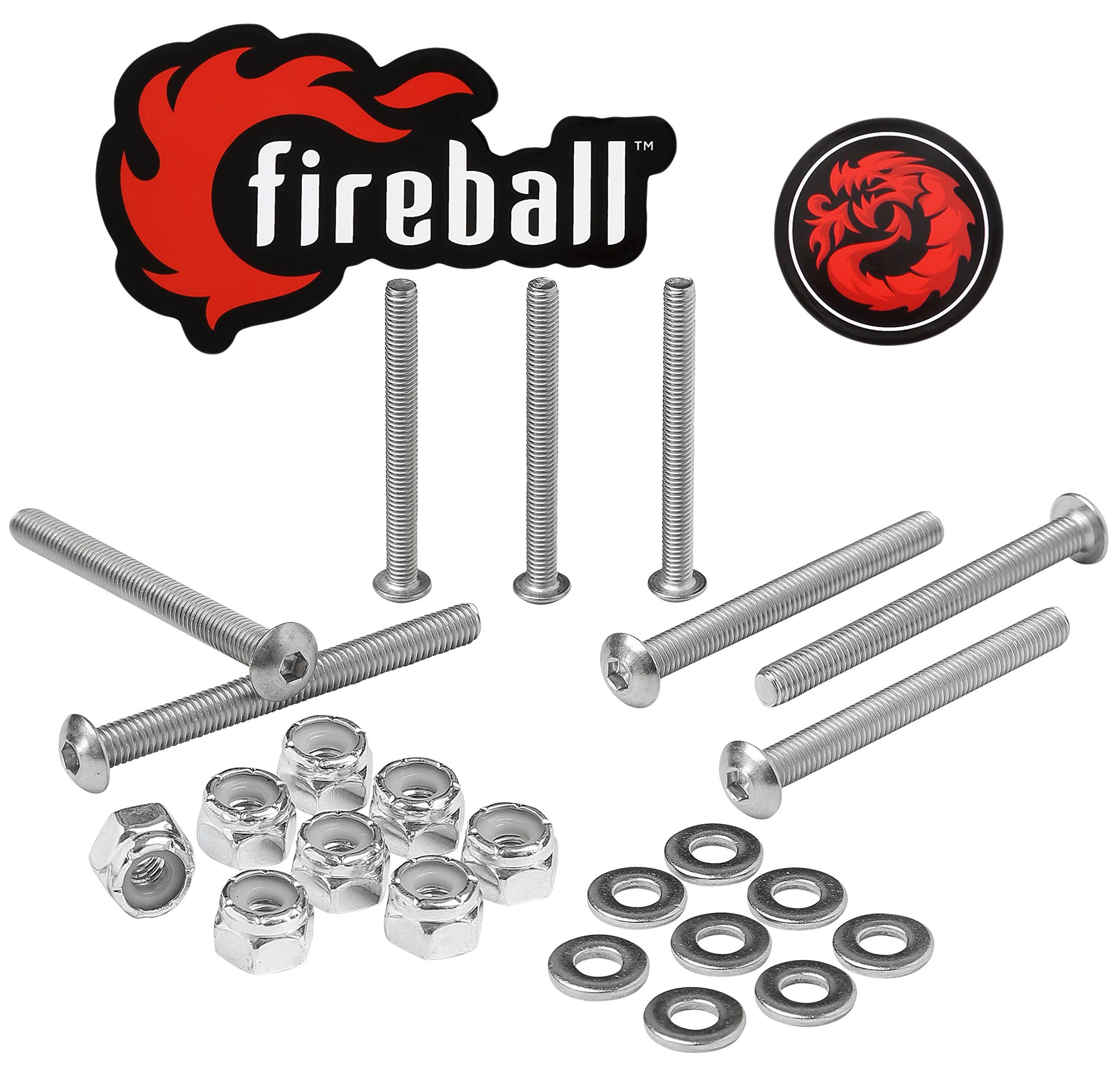 Fireball Dragon Stainless Steel Skateboard Hardware Set (Button Allen, 2.0'') by Fireball (Image #1)