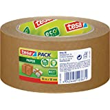 tesa Paper Packaging Tape Made From Recycled Materials for Packing Parcels and Boxes 50 m x 50 mm, Pack of 6