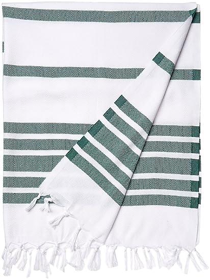 Cacala turco hammam toallas, algodón, Verde, 37 x 70-Inch
