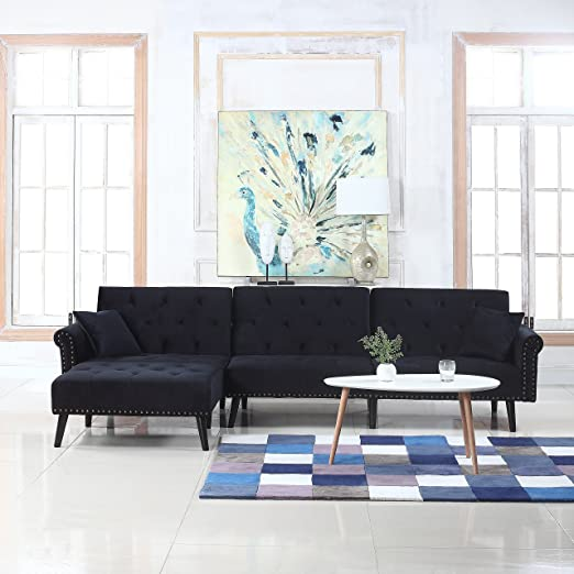 Mid Century Modern Style Velvet Sleeper Futon Sofa, Living Room L Shape  Sectional Couch with Reclining Backrest and Chaise Lounge (Black)