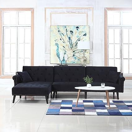Divano Roma Furniture Mid Century Modern Style Velvet Sleeper Futon Sofa,  Living Room L Shape