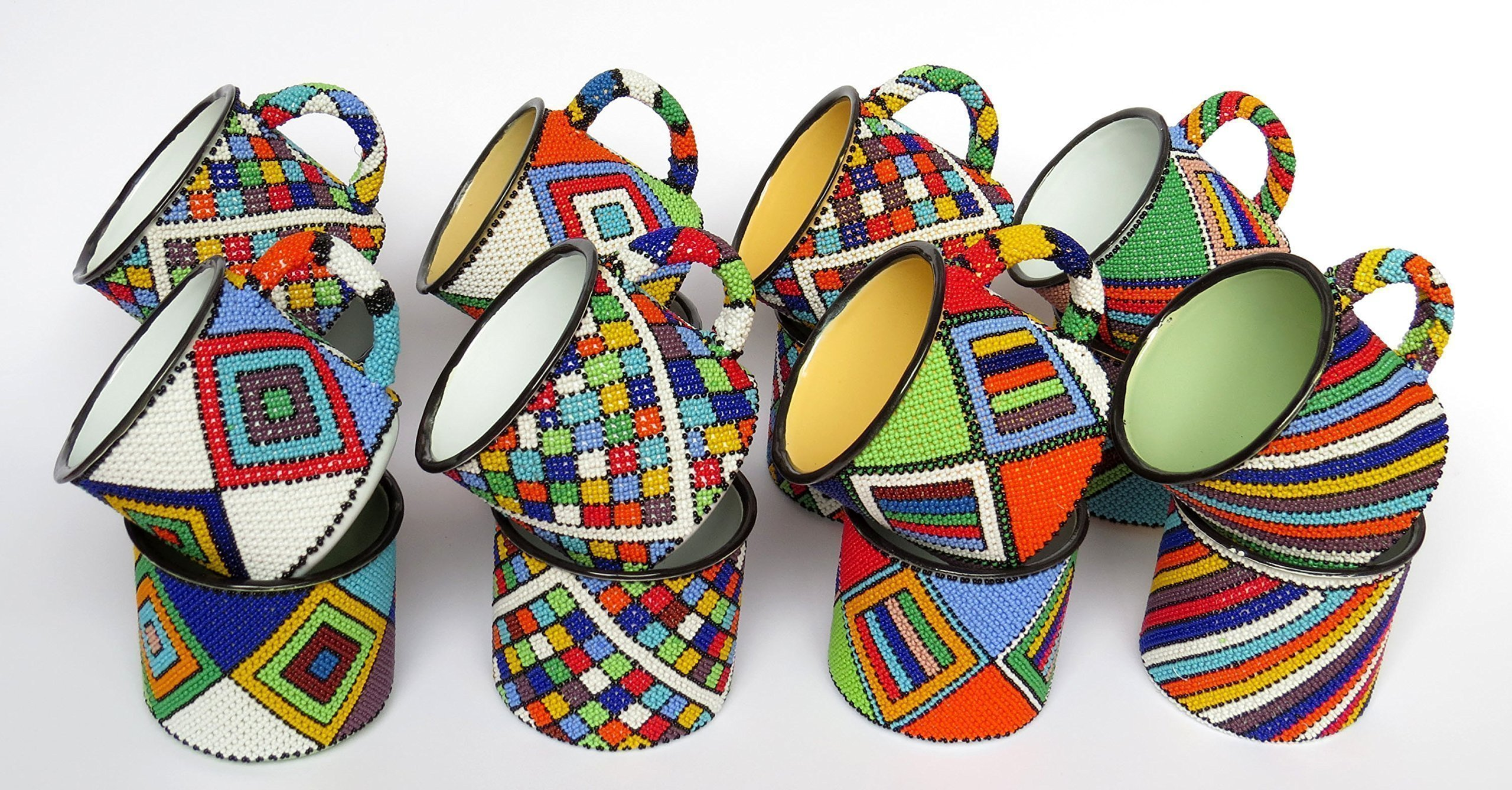 African Zulu beaded Mug, gift from Africa – SPECIAL OFFER - Set of 5 mugs