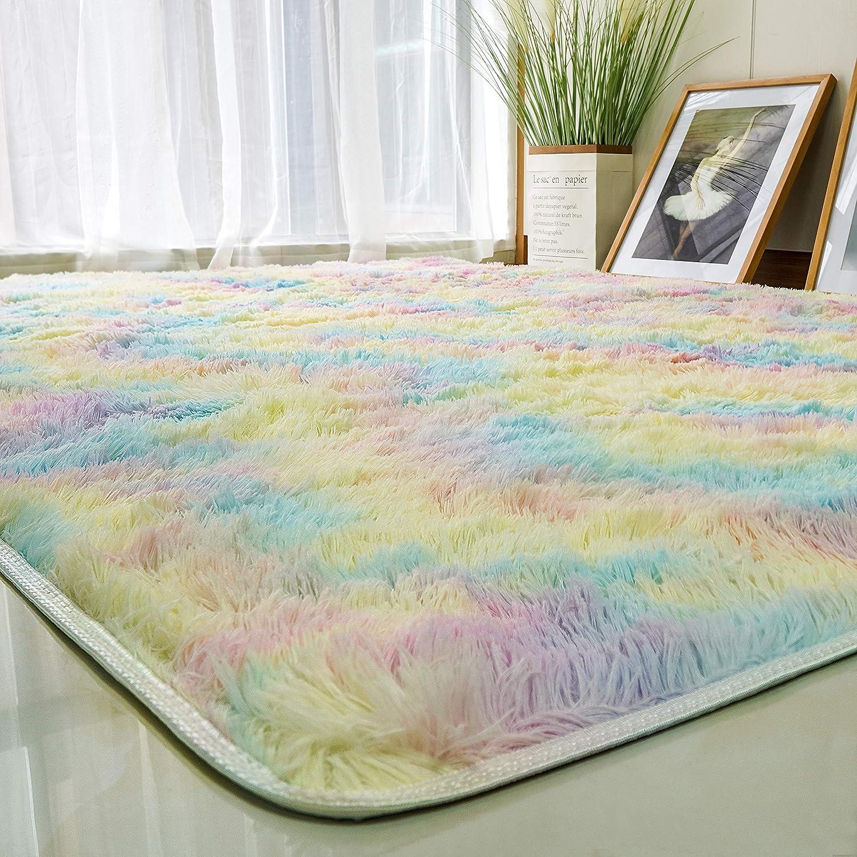 Plush-Fluffy-Rugs 5x8 Feet - Rainbow Soft-Rugs Room/Bedroom for Girls (Rainbow,5 x 8 Feet)