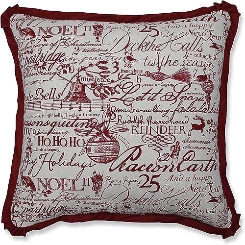 Pillow Perfect Holiday Poinsettia Throw Pillow, 18