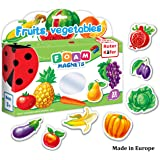 Refrigerator Magnets for kids FRUITS & VEGGIES (32 pcs) - Fridge Magnets for Toddlers activity - Kid magnets - Toddler magnets - Baby Magnets - Food Magnets - Magnetic Shapes - Foam Magnets