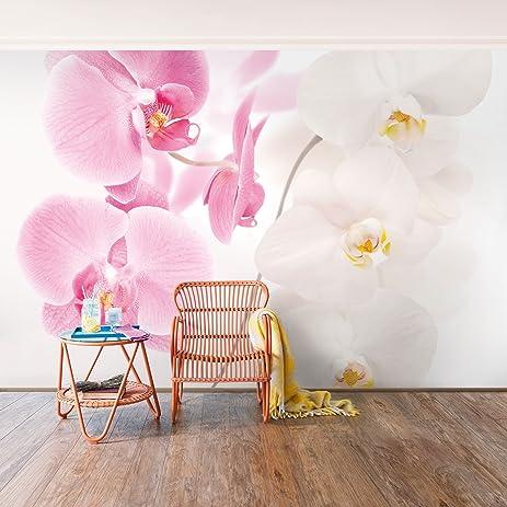 Non-woven Wallpaper - Delicate Orchids - Mural Wide wallpaper wall ...