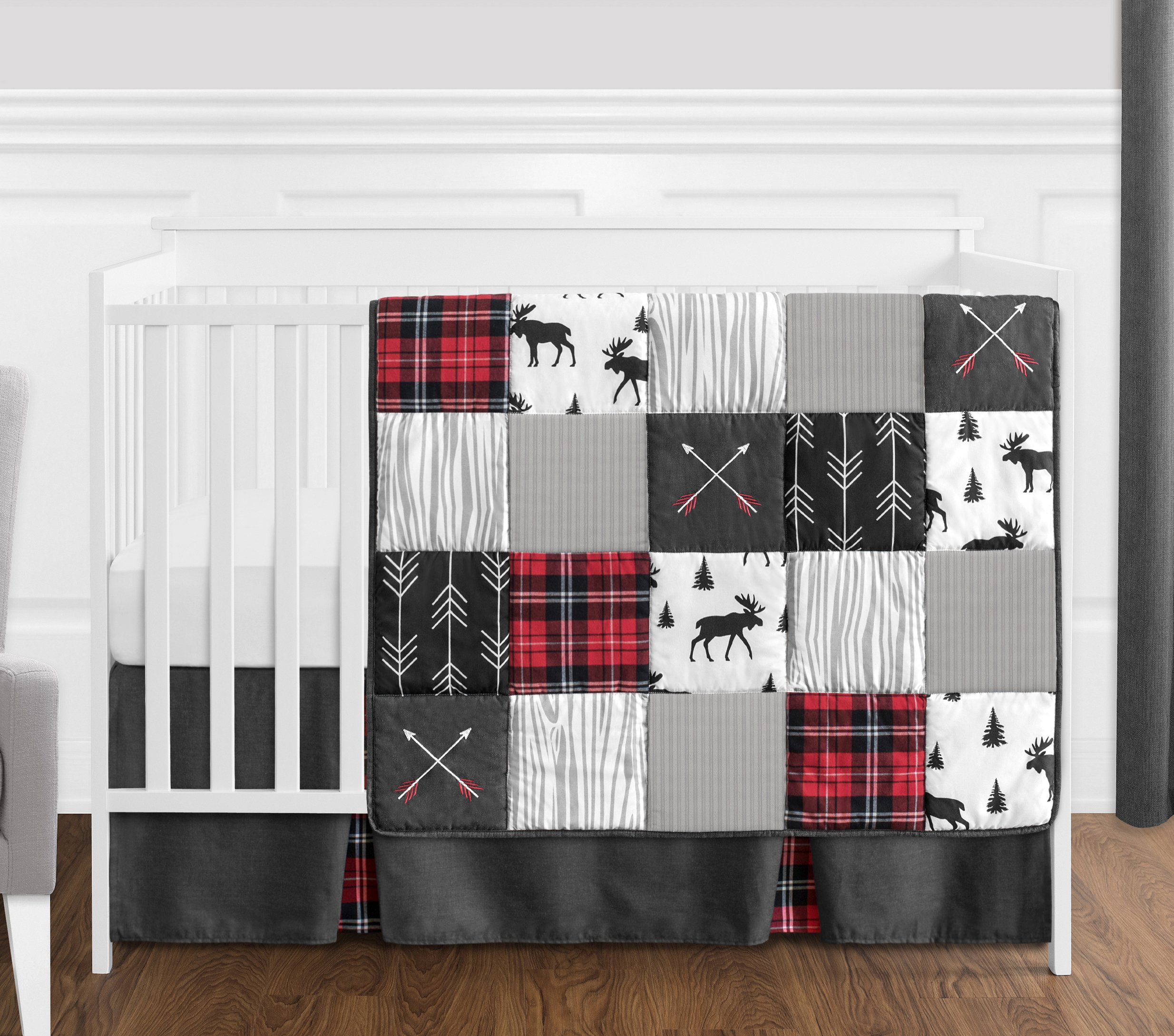 Sweet Jojo Designs Grey, Black and Red Woodland Plaid and Arrow Rustic Patch Baby Boy Crib Bedding Set Without Bumper - 4 Pieces - Flannel Moose Gray by Sweet Jojo Designs