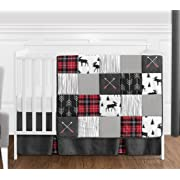 Sweet Jojo Designs Grey, Black and Red Woodland Plaid and Arrow Rustic Patch Baby Boy Crib Bedding Set Without Bumper - 4 Pieces - Flannel Moose Gray