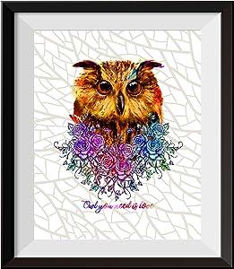 Uhomate The Owl Decor Cute Owl Wall Art Owl Painting Home Canvas Prints Wall Art Inspirational Quotes Wall Decor Living Room Bedroom Bathroom Artwork C106 (8X10)