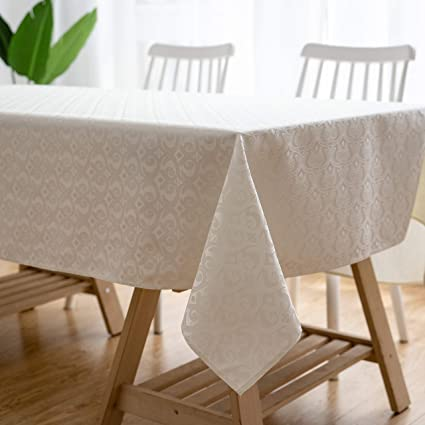Amazon.com & Aquazolax Wrinkle-Free Fabric Tablecloth for 6 Foot Long Rectangle/Oval Table Luxury Damask Table Covers 60 by 84 inches Beige