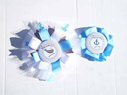Amazoncom Nautical Ahoy Baby Shower Partytheme Corsage Pin For Dad