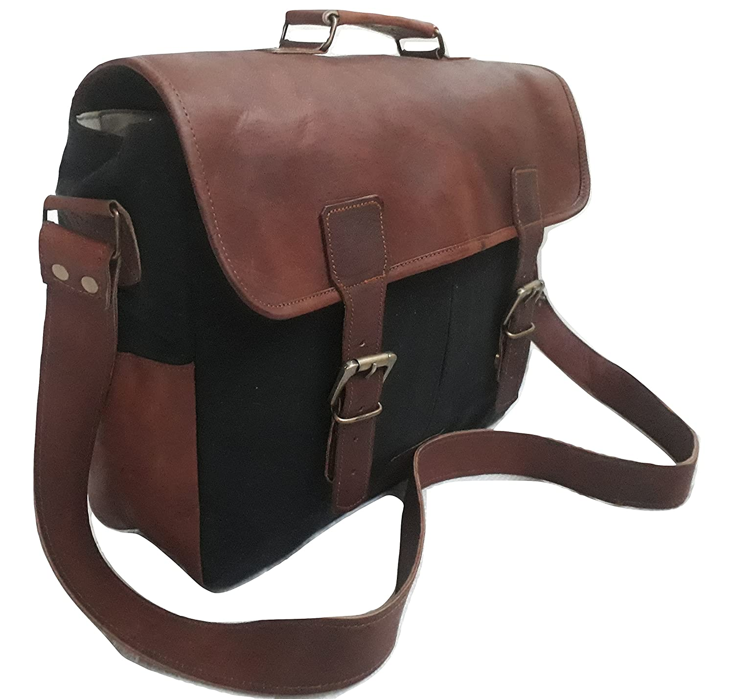 Messenger Satchel bag for men and women Vintage canvas real leather 14 inch Laptop Briefcase for everday use