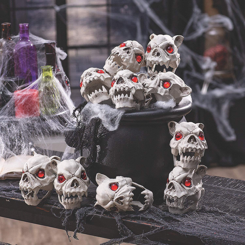 Dog Head Skeleton Halloween Decorations - Home Decor - 12 Pieces