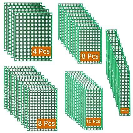 DEYUE 40 PCB Kit de placas de circuito de doble cara, 5 tamaños, universales