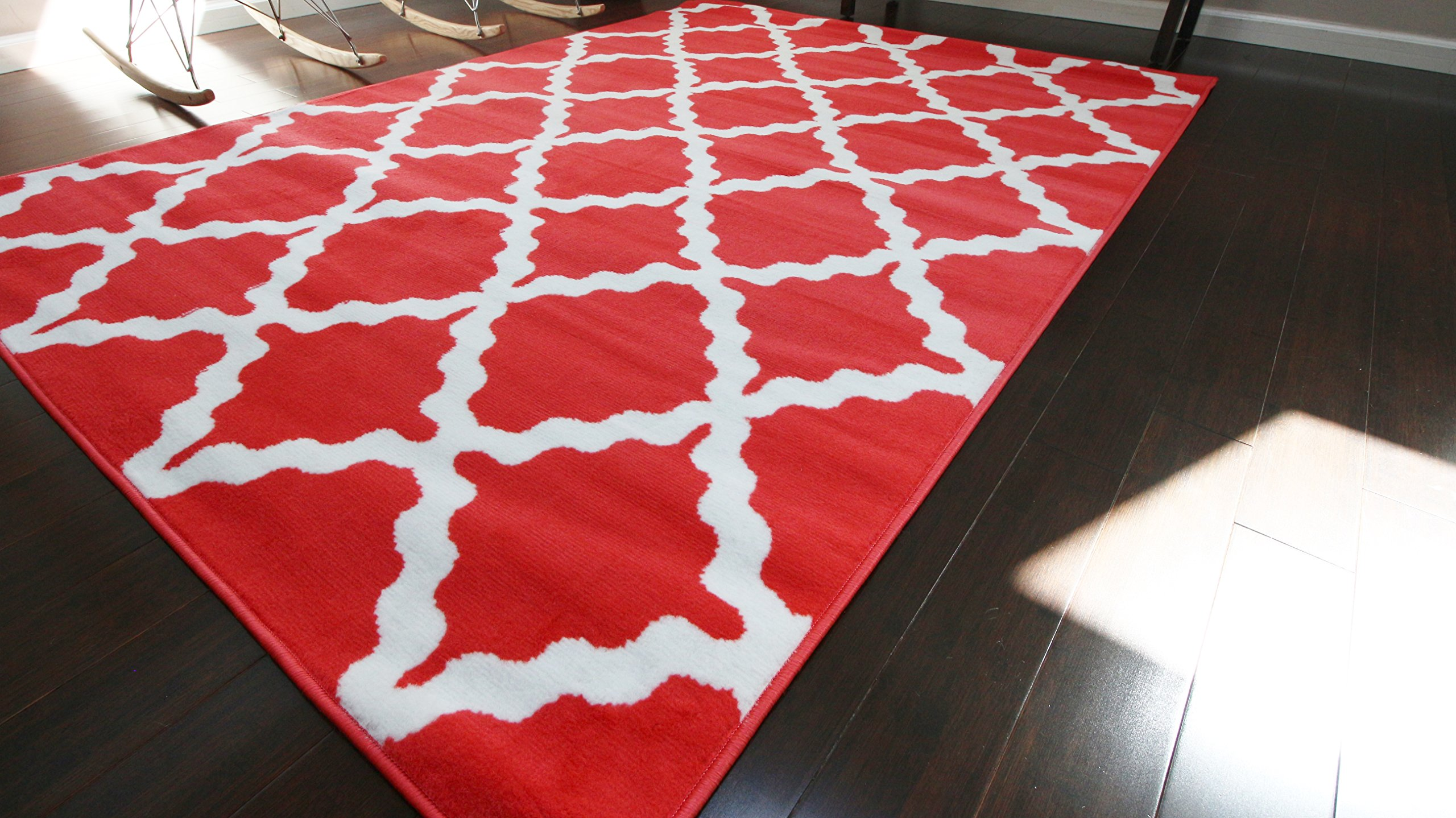 Generations Contemporary Pattern Modern Area Rug, 2' x 3', Crimson Red/White